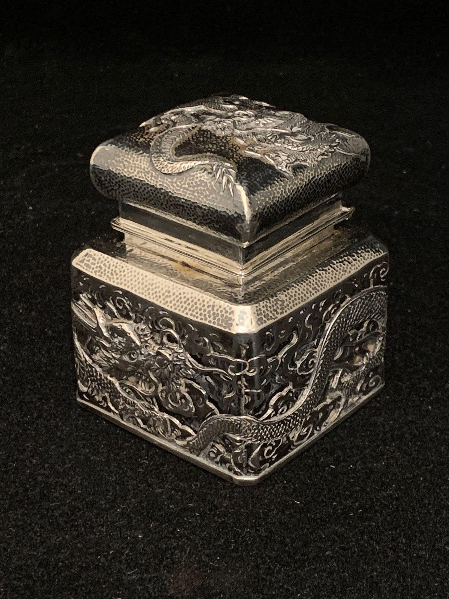 Japanese Silver And Glass Inkwell