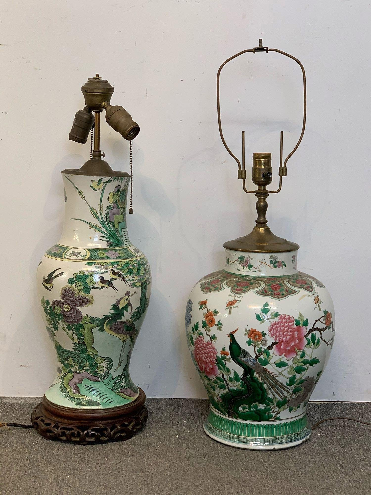 Two Chinese Porcelain Vase Form Lamps