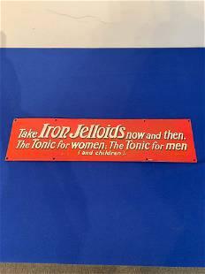 Porcelain Handpainted Iron Jelloids Trade Sign