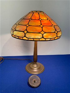 Tiffany Studios Colonial Leaded Glass Table Lamp