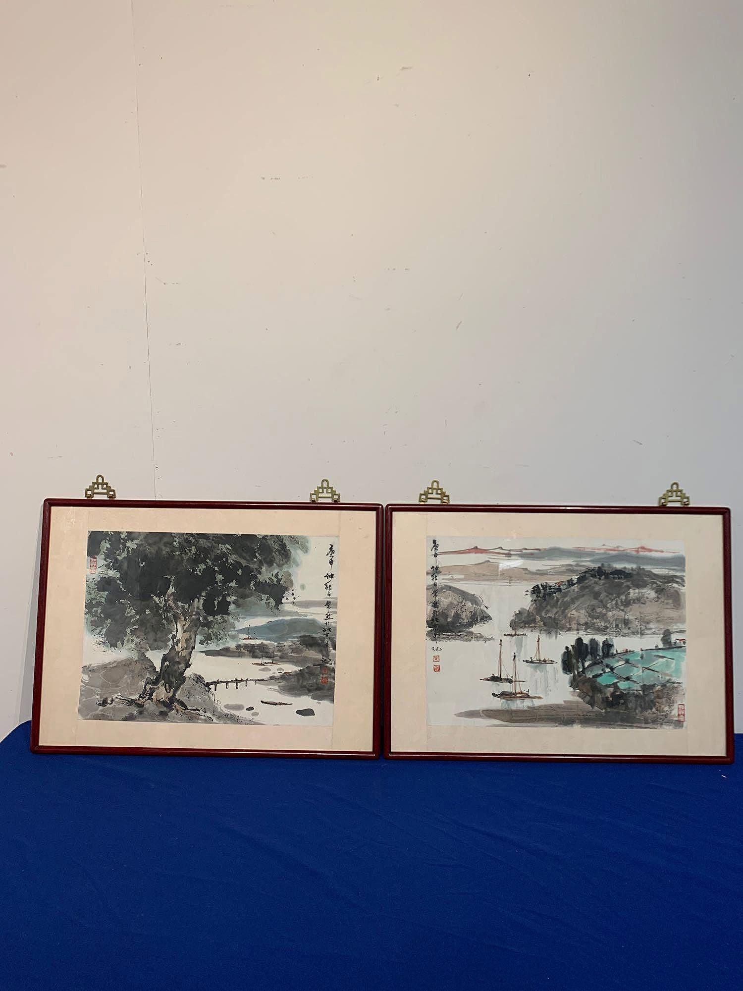 Two Chinese Watercolors, Harbor Landscapes
