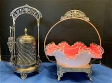 Victorian Silverplate Pickle Caster, Brides Basket