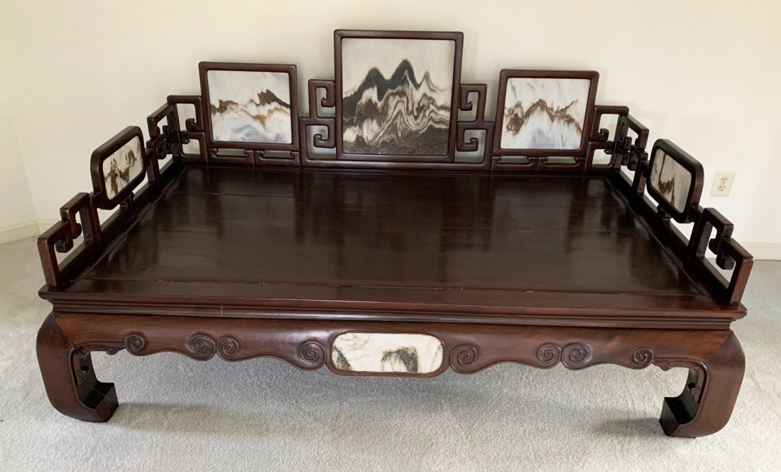 Monumental Chinese Rosewood/Dali Marble Daybed