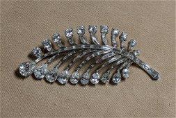 Platinum and Diamond Leaf Brooch