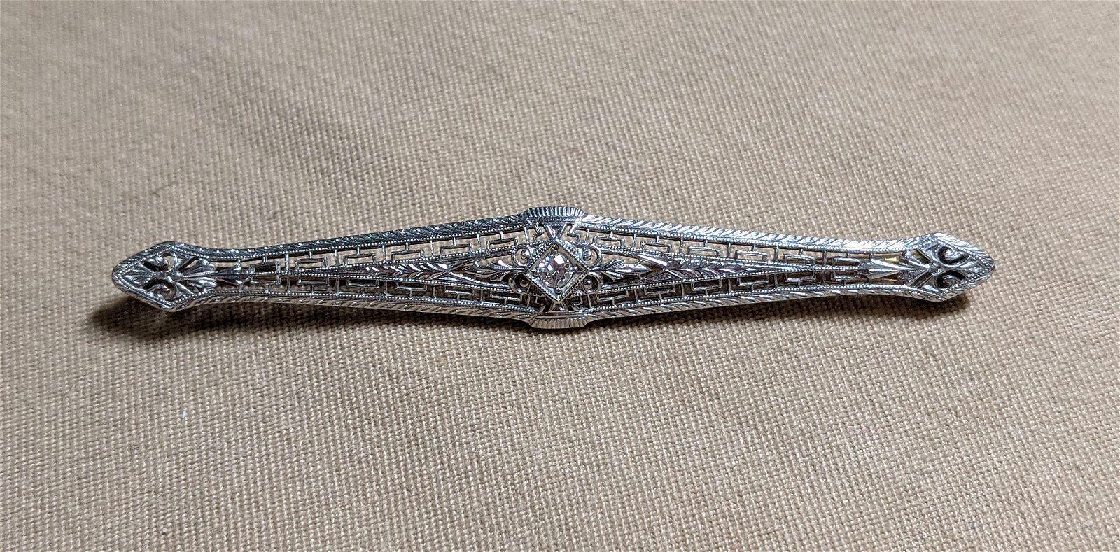Diamond Filigree Bar Pin