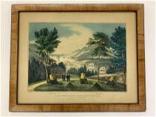 Currier  Ives Lithograph The HudsonWest Point