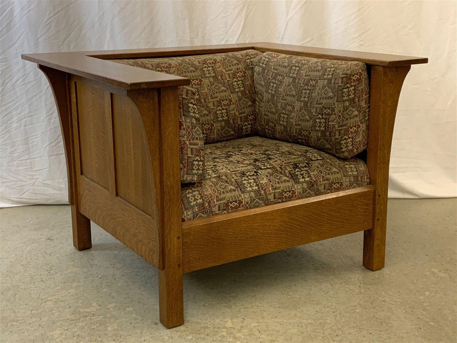 Contemporary Stickley Oak Prairie Armchair