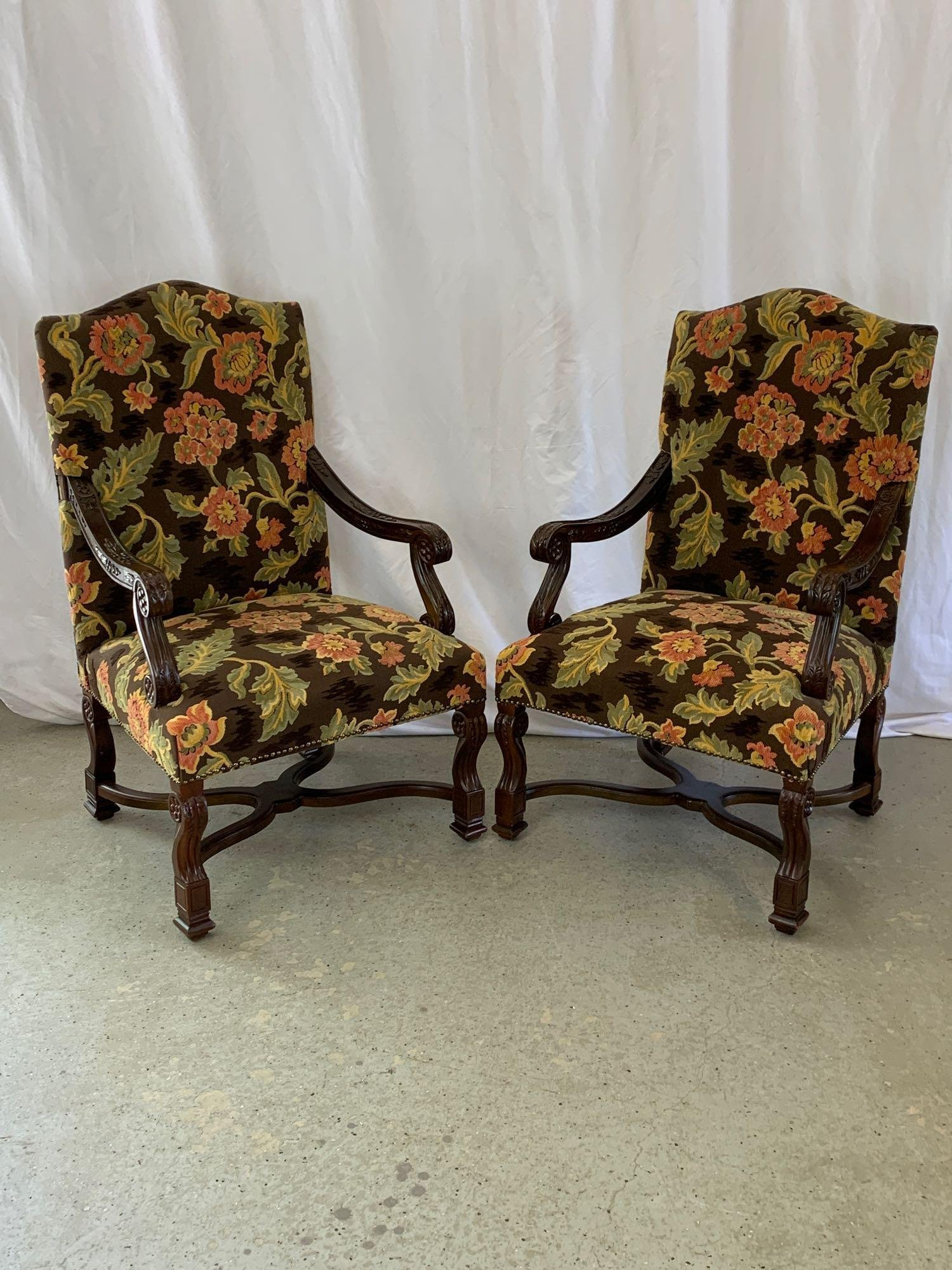 Pair Of Andre Originals Carved Armchairs