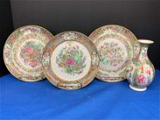 Four pcs Chinese Export Rose Medallion Porcelain