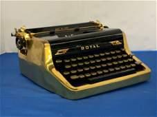 Rare Royal Quiet De Luxe Gold Portable Typewriter