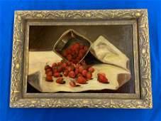 19th C. Oil on Canvas Still Life, Strawberries