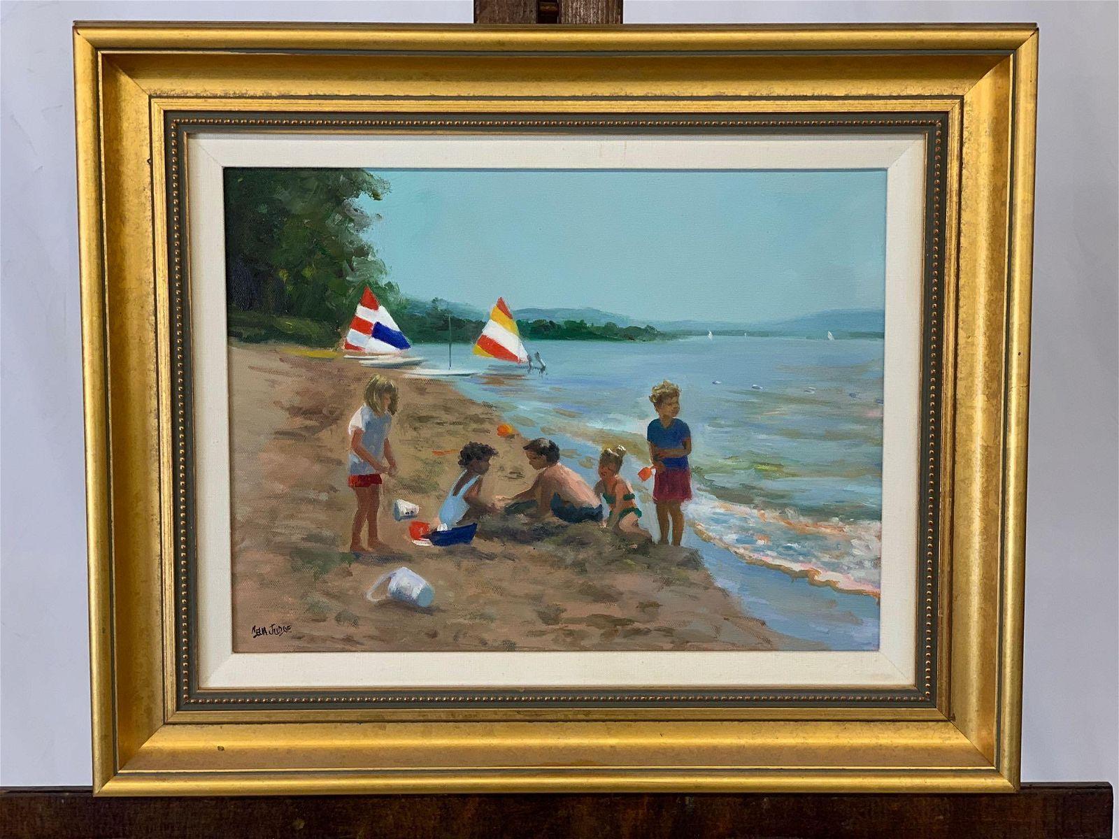 Celia Judge. Oil on Canvas, Beach Scene