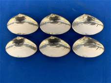 Six Wallace Sterling Silver Clam Shell Dishes
