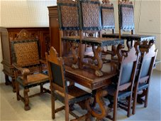 Thirteen-piece Spanish Carved Dining Suite