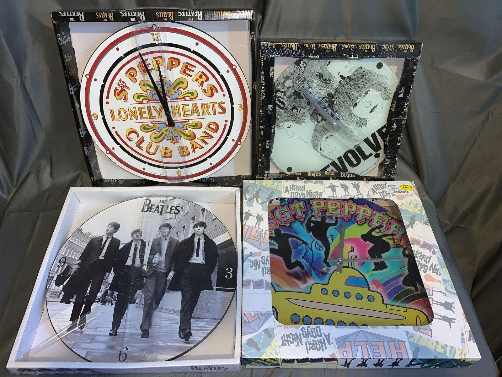 Four New Beatles Wall Clocks