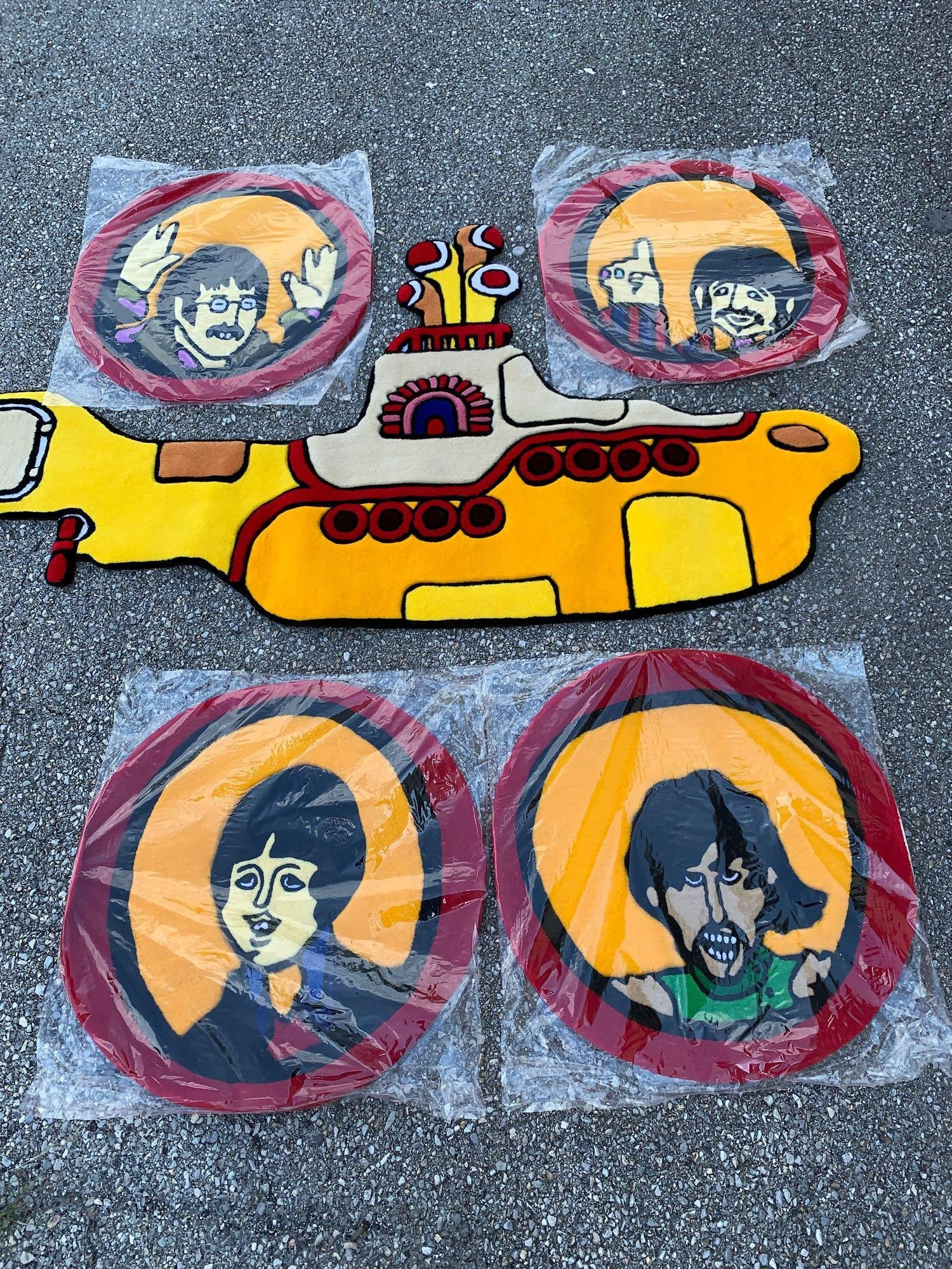 Five Small Beatles Yellow Submarine Carpets