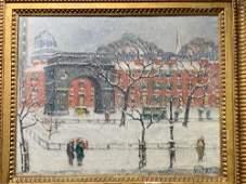Guy Wiggins. Oil/Canvas, Winter City Scene