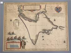 17th C HandColored Map of Tabula Magellanica