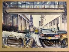Hugh Laidman Watercolor on Paper. Urban Landscape