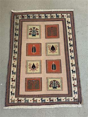 Persian Pictorial Area Carpet, 4ft 7in x 3ft 4in