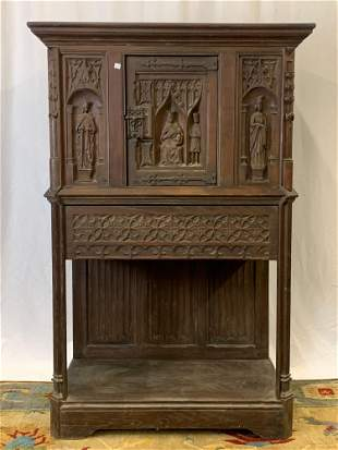 Continental Gothic Revival Wine Cabinet