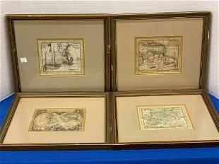 Four Antique Hand Colored Maps