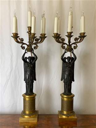 Fine Pair of French Empire Candelabras
