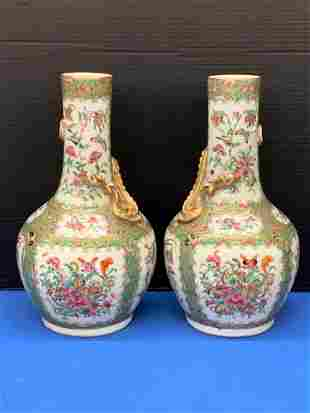Pair of Chinese Export Rose Medallion Porcelain Vases