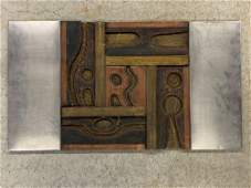 Modernist Mixed-Metal Relief Wall Panel
