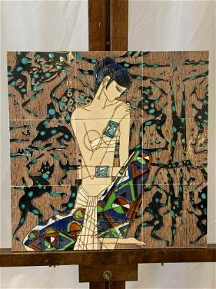 Modernist Figural Art Pottery Tile Plaque