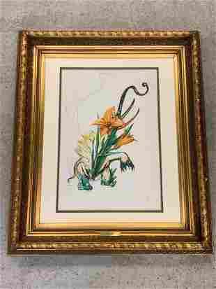 Salvador Dali. Signed Lithograph, Elephant Lily