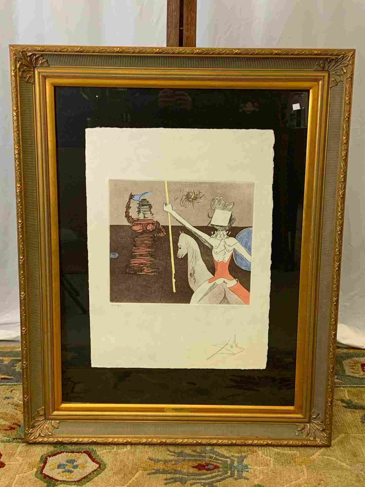 Salvador Dali. Signed Etching, Off to Battle