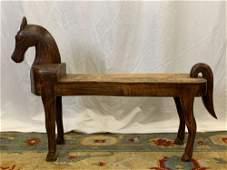 Contemporary Folk Art-style Horse Bench