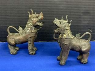 Pair of Asian Bronze Foo Dog Sculptures
