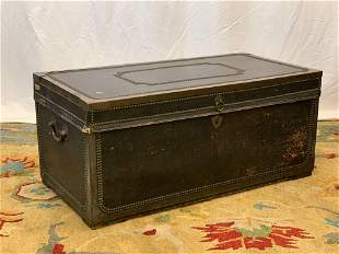 Chinese Export Leather Covered Camphor Trunk