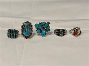 Five Silver Southwestern Rings