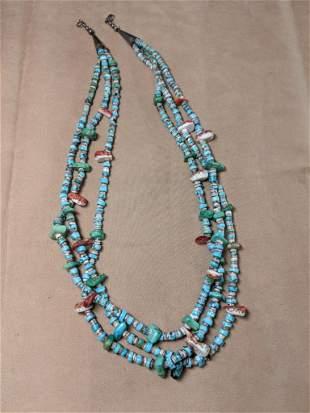 Three-Strand Stone Bead Necklace