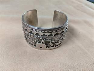 Southwestern Silver Cuff Bracelet with Dwellings