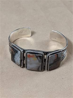 Southwestern Silver Cuff Bracelet with Agates