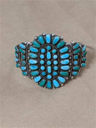 Southwestern Silver Cuff Bracelet with Turquoise