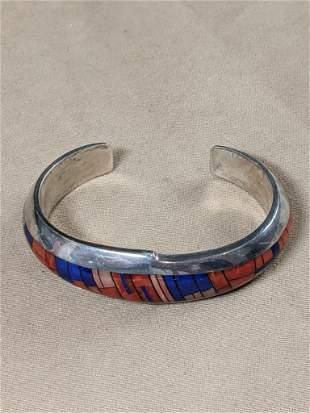 Inlaid Southwestern Silver Cuff Bracelet