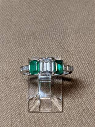 Cartier Diamond and Emerald Ring
