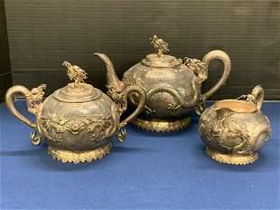 Chinese Export Silver Dragon Tea Set