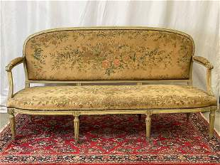 Louis XVI Floral Tapestry Upholstered Settee