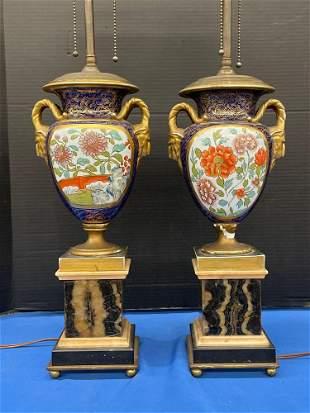 Pr. Continental Porcelain Urn Form Table Lamps