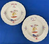Pair of Chamberlain's Worcester Yellow Tiger Soup Bowls