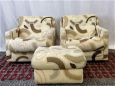 Pair of CY Mann Lounge Chairs and Ottoman