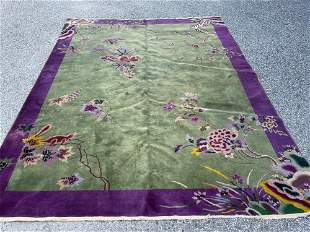 Chinese Art Deco Rm-size Carpet, 11ft 9in x 8ft10in