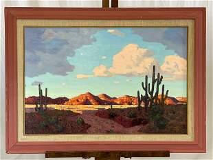 Conrad Buff. Oil/Panel, Southwestern Landscape