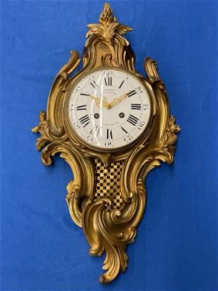 J. Verner French Bronze Cartel Clock
